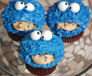 cake, cupcake, and cookie monster image