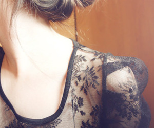 girl, lace, and black and white image