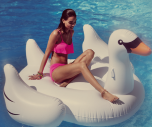 pink, pool, and Swan image