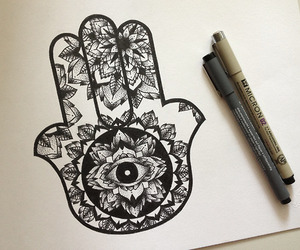 drawing and hand of fatima image