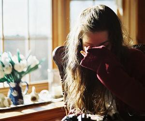 girl, sad, and flowers image