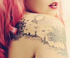 moon, tattoo, and pink image