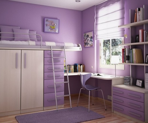 bedroom, purple, and room image