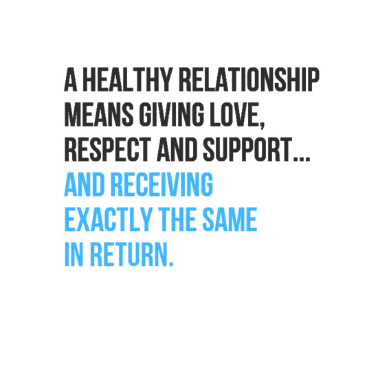 In Your Face Poster A Healthy Relationship Means Giving Love Respect And Support And Receiving Exactly The Same  Behappy Me