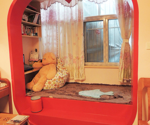 home, livingroom, and red image
