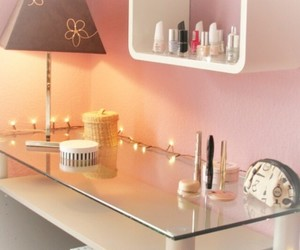 desk, light, and make up image