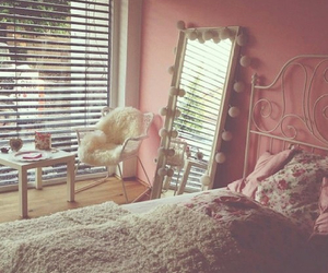 bedroom, mirror, and pink image