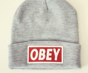 obey, beanie, and grey image
