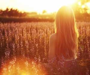 girl, sun, and flowers image