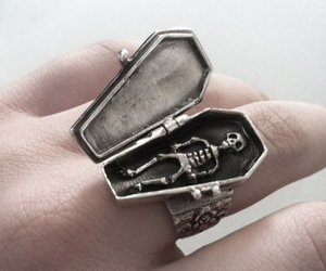 ring, skeleton, and coffin image
