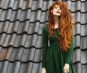 girl, dress, and green image