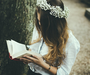 book, girl, and flowers image