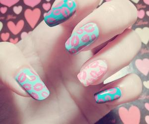 blue, hearts, and nails image