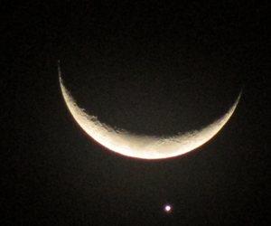 moon, Venus, and night image