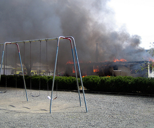 explosion, fire, and swings image