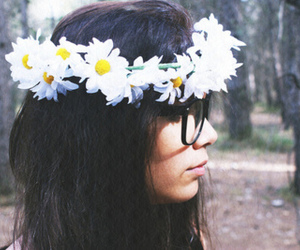 girl, daisy, and flowers image