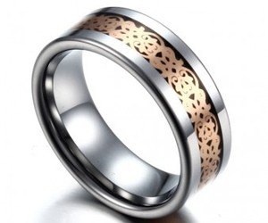 tungsten rings, stainless steel inlay, and polished rings image