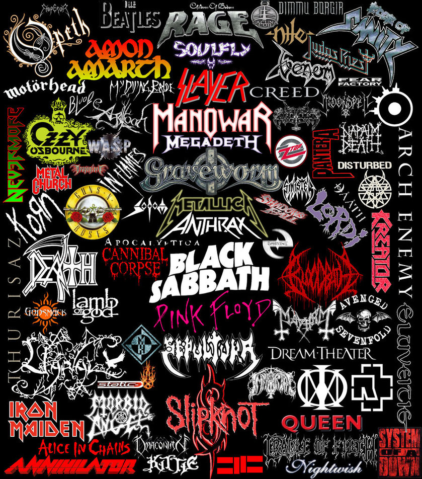 metal band logos uploaded by fuckrainbows on we heart it