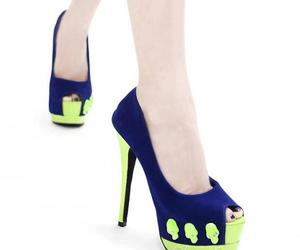 blue and green, peep-toe, and elegant image