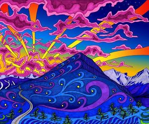colors, mountains, and psychedelic image