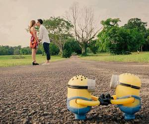 love, minions, and kiss image