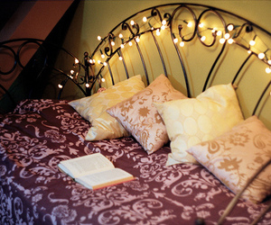 bed, light, and room image