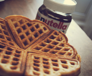 nutella, waffles, and food image