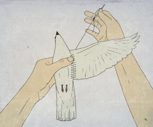 bird, art, and hands image