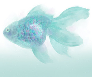 fish, blue, and pastel image