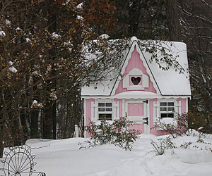 pink, snow, and house image