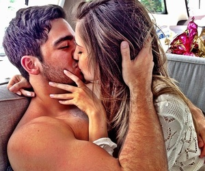 boy and girl, couples, and kissing image