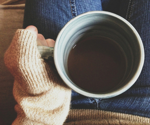cup of tea, girl, and sweater image