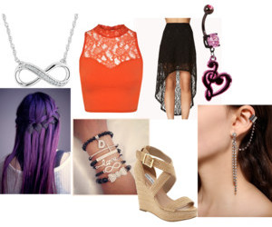 outfit, waterfall braid, and sheer image
