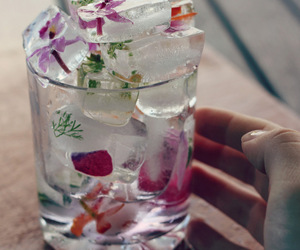 flowers, ice, and glass image