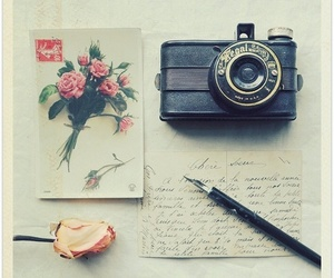 vintage, camera, and rose image