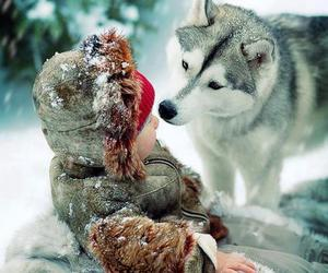 snow, baby, and dog image