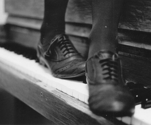 piano, shoes, and black and white image