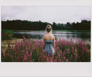 girl, flowers, and lake image