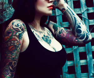 tattoo, girl, and hat image