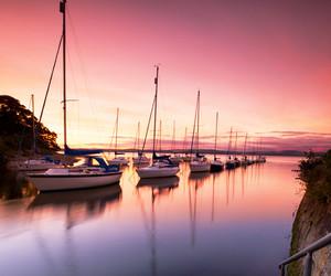 paradise, sunset, and yacht image