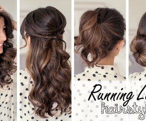hair, hairstyle, and running late image