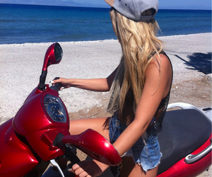 beach, bike, and california image