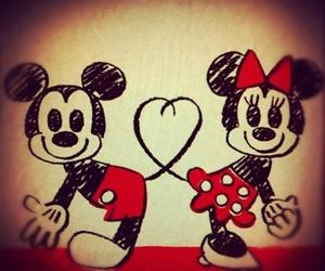 drawing, minnie mouse, and red image