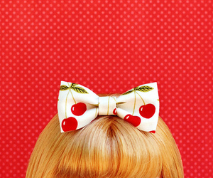 doll, bow, and cherry image
