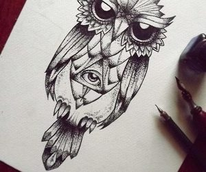 owl, tattoo, and draw image
