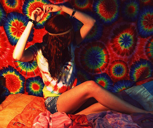 girl, hippie, and tie dye image
