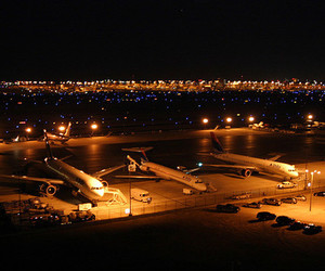 airport, lights, and plane image