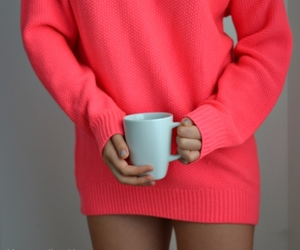 coffee, pink, and sweater image