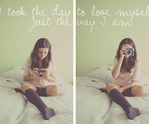 bed, love, and camera image