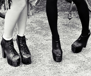 shoes, black and white, and legs image